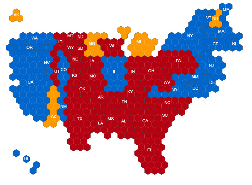 Hex Map Of US Electoral Votes Vivid Maps - Electoral votes us map