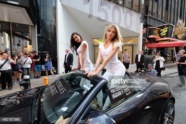 Angels Lais Ribeiro and Martha Hunt pose at the launch of Body By Victoria