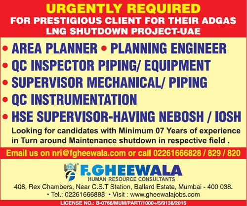 Adgas Jobs, Planner, Planning Engineer, QC Inspector, Piping Supervisor, Mechanical Supervisor, QC Inspector, Instrumentation Jobs, HSE Jobs,