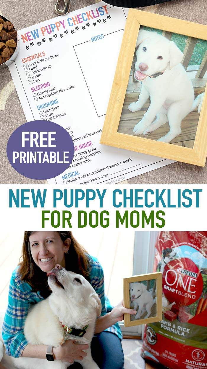 FREE printable checklist for new dog owners! Whether you're adopting a puppy or an older dog you'll need this list of essential pet supplies. And find out how to transition your puppy to an adult dog food he will love! #ad