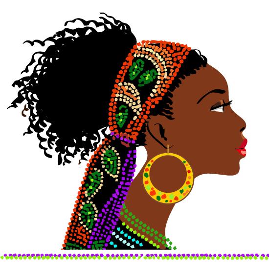 Perfil de Mujer Africana vector