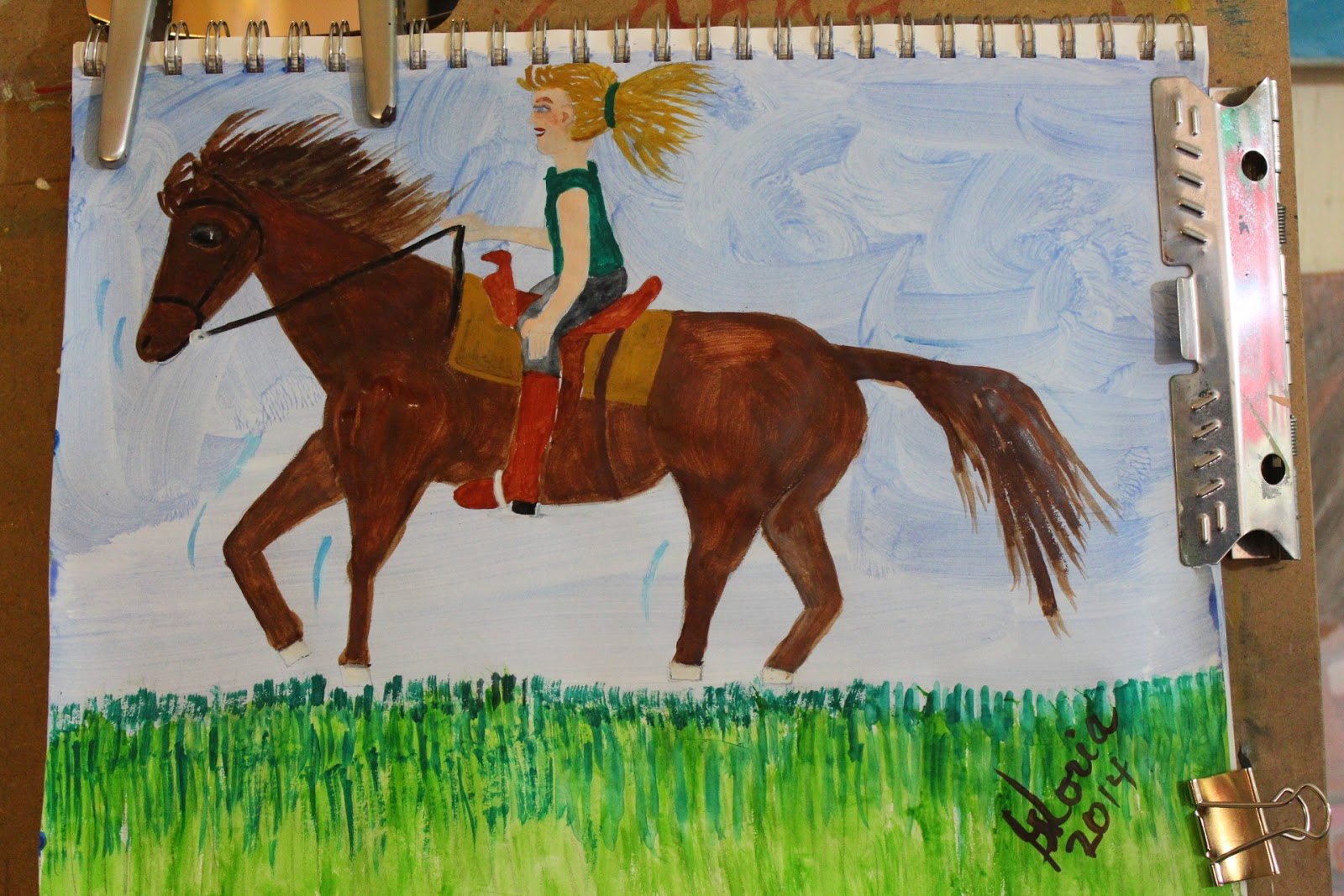 """Kentucky bluegrass canter"" sketch by Gloria Poole of Missouri & Georgia; 16-Mar-2014"