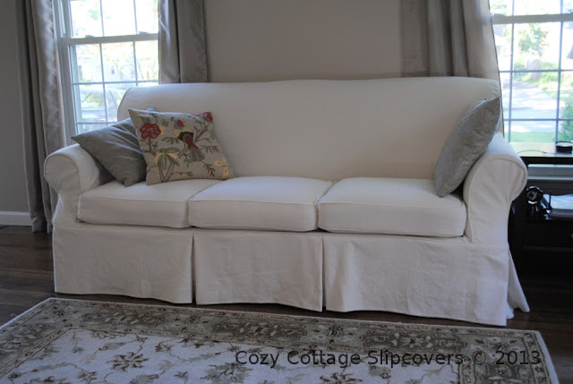 Cozy Cottage Slipcovers: Natural Brushed Canvas Sofa Slipcover