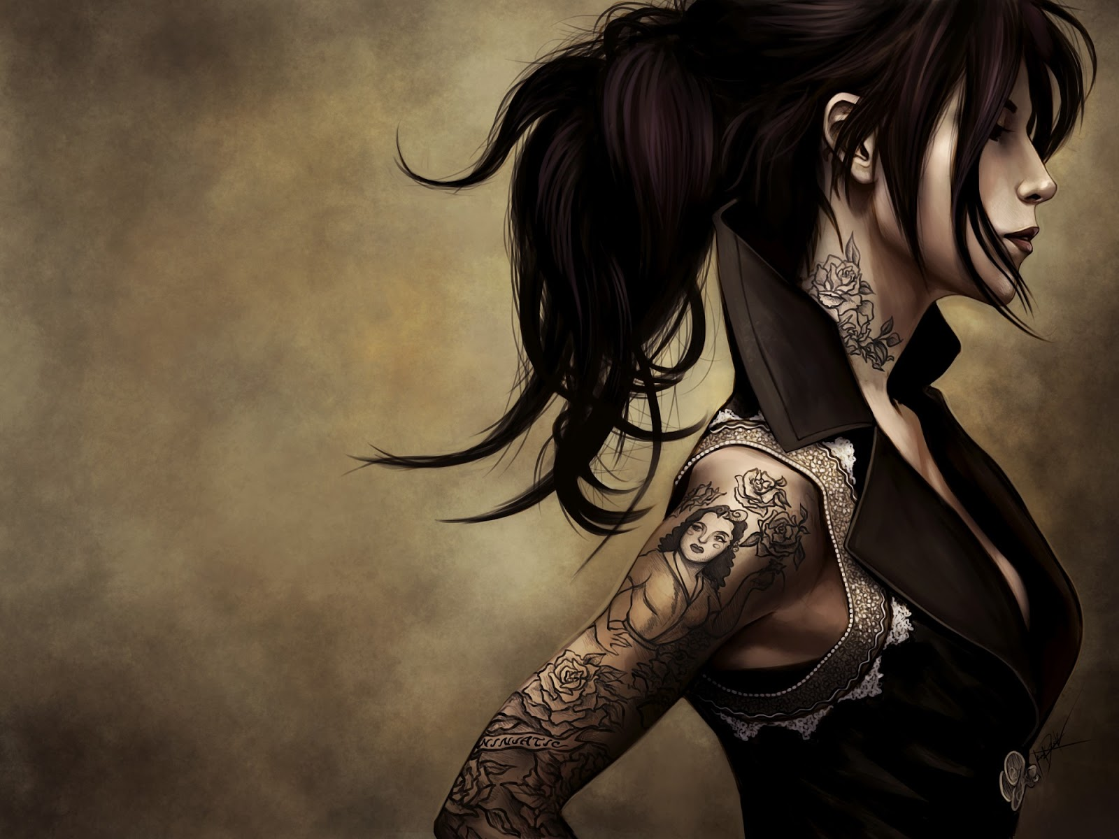 Hot scary wallpaper gothic girl 2