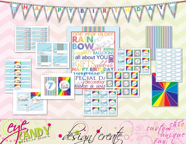 rainbow party banner, rainbow party printables, rainbow party sign