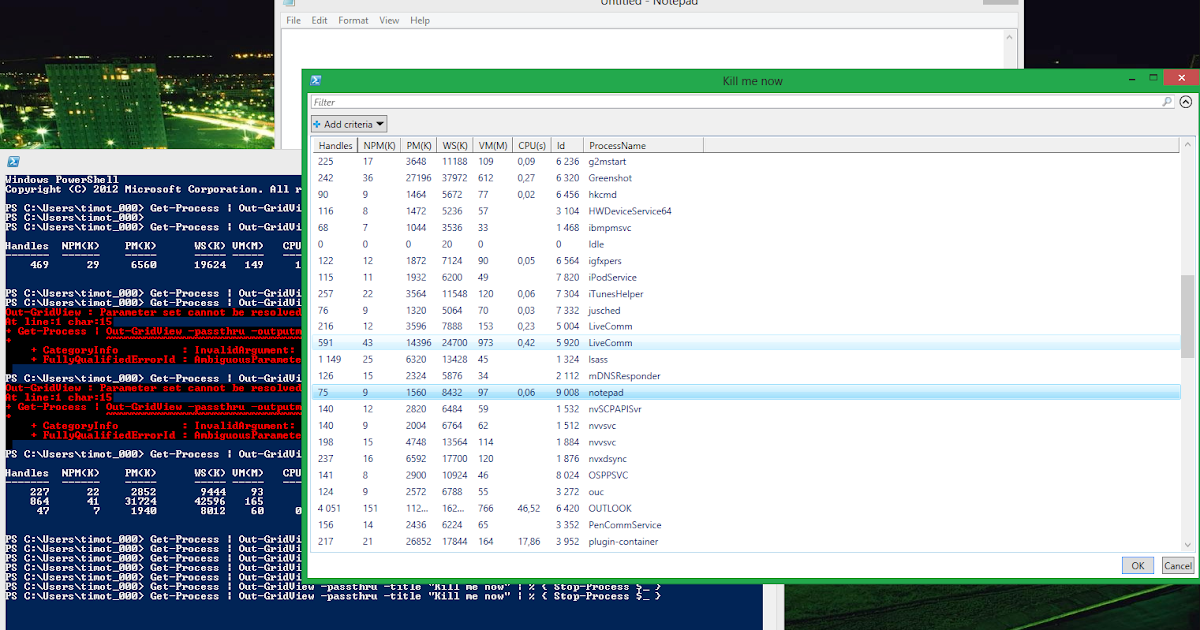 Timo's Techie Corner: Miniblog: Powershell Out-Gridview cmdlet
