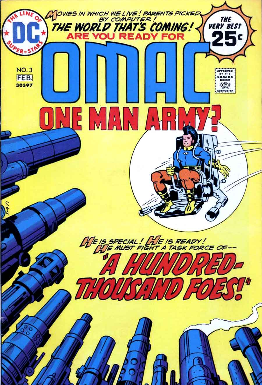 Omac v1 #3 dc bronze age comic book cover art by Jack Kirby