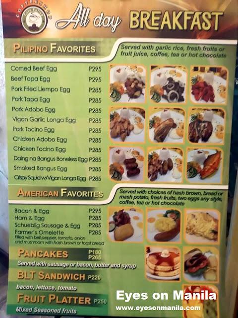 Aloha Hotel Manila - Cafe Felisa Room Service Menu