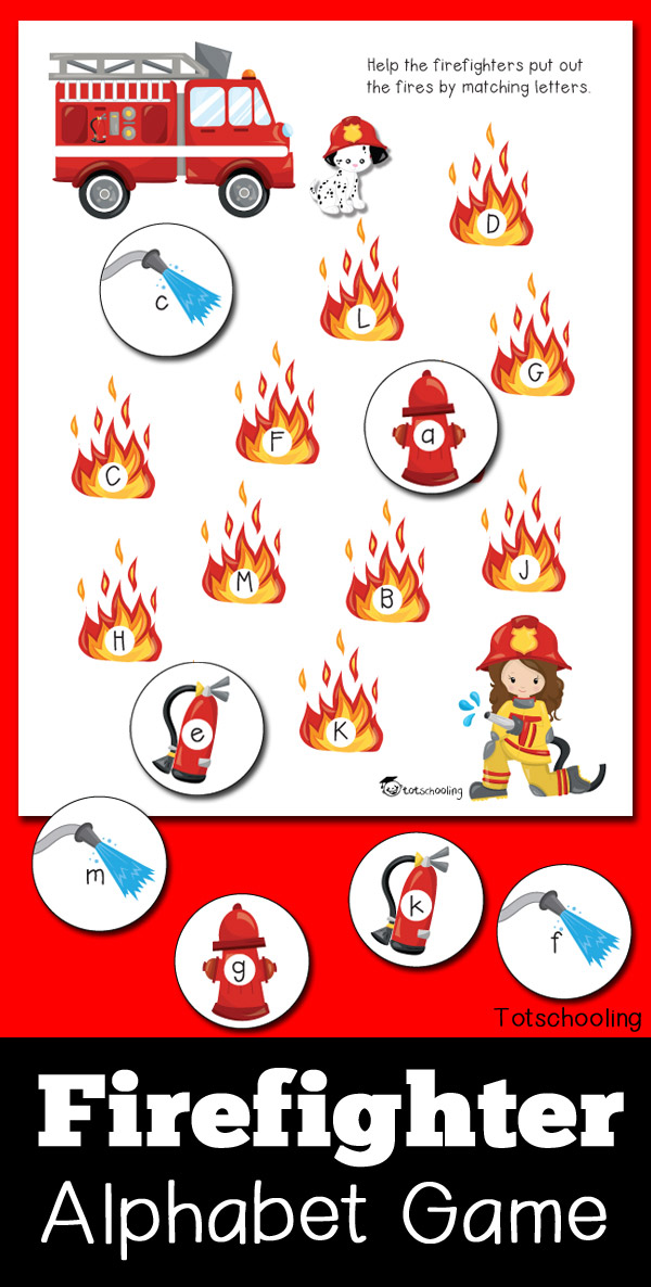 FREE printable Fire truck and firefighter themed letter matching game, perfect for a preschool fire safety and prevention week! Practice the alphabet and letter recognition in both uppercase and lowercase letters.
