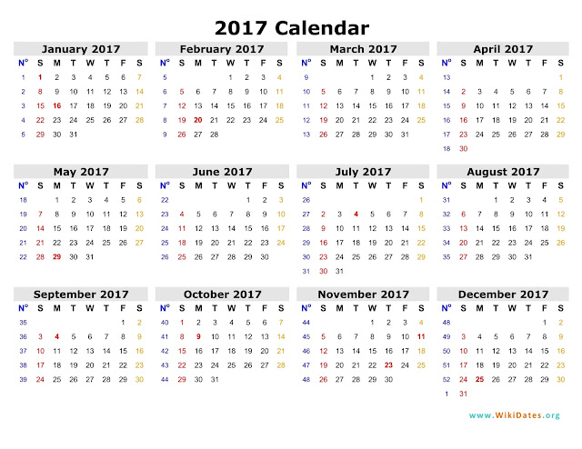 Printable Calendar 2017 - PDF Excel Word Templates - Get Printable ...