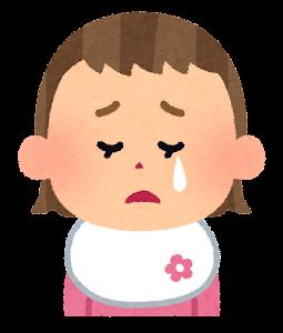 赤ちゃんの表情のイラスト(女・泣いた顔)