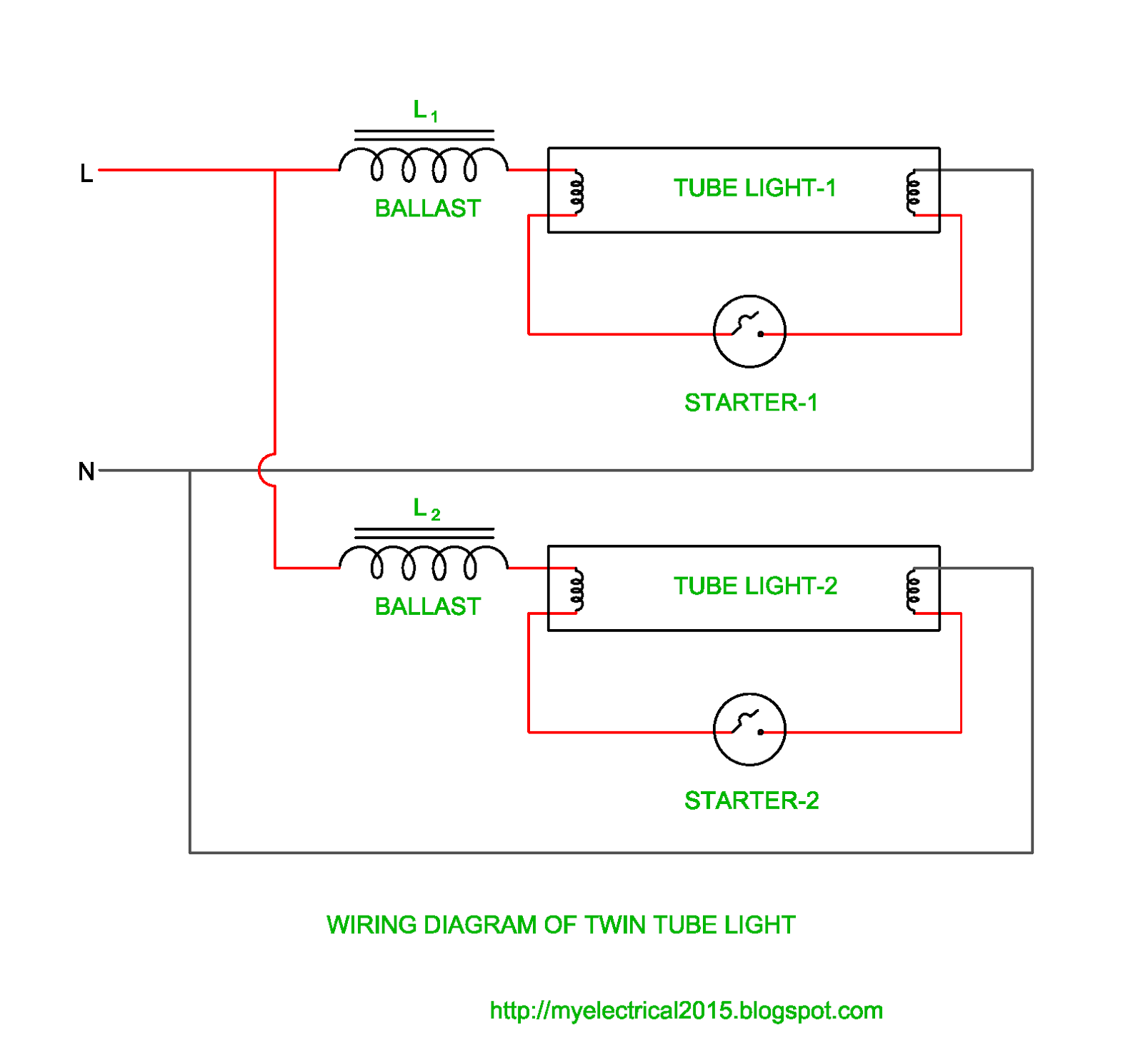 Wiring Diagram Lighting Tool Of Twin Tube Light