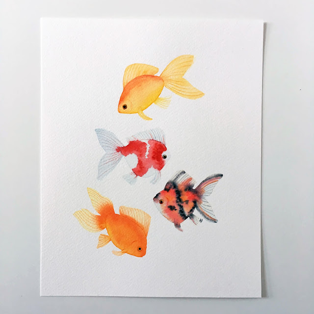 watercolor, goldfish, watercolor goldfish, Anne Butera, My Giant Strawberry