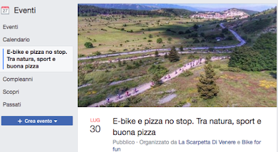 """Domenica 30 luglio alle 17:00 il Ristorante-Pizzeria """"La Scarpetta di Venere"""" propone un giro in E-bike in collaborazione con Bike For Fun. Al rientro pizza e bibite no stop"""