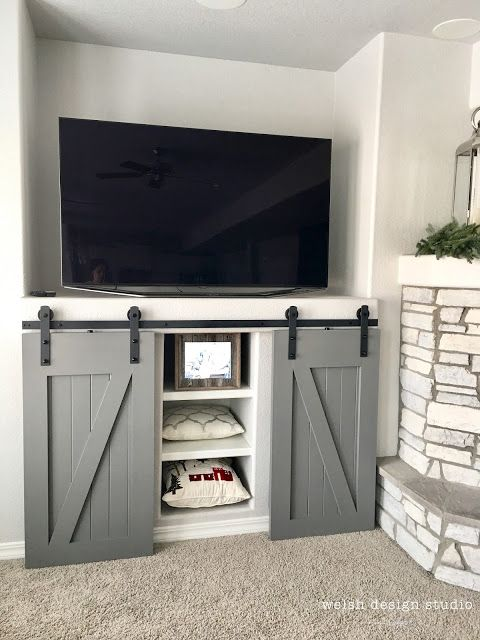 media center sliding barn door diy