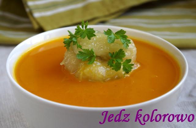 zupa z pieczonej dyni z kluskami ziemniaczanymi wege, bez glutenu