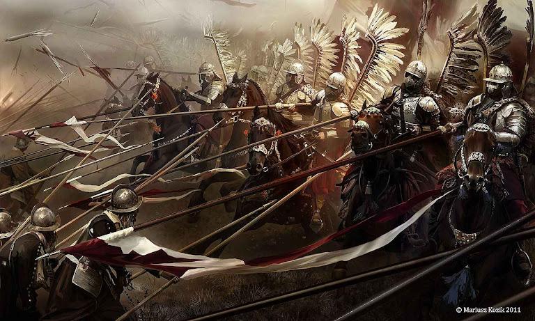 Os hussardos alados poloneses de Jan Sobieski.