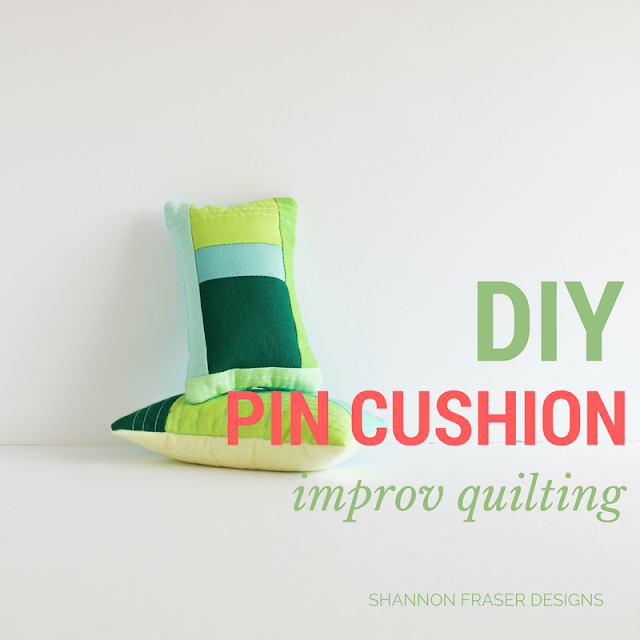 DIY Pin Cushion Tutorial | Modern Quilting | Improv Quilting | Shannon Fraser Designs | RJR Fabrics | Cotton Supreme Solids
