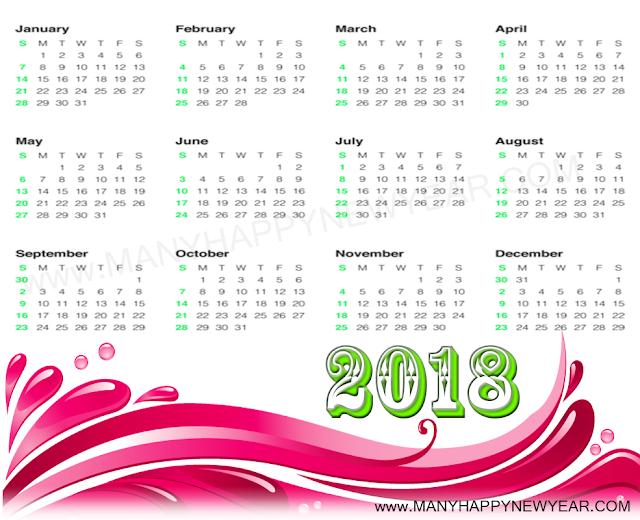 year 2018 printable calendar