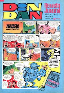 Anacleto, portada de Din Dan 2ª nº 173
