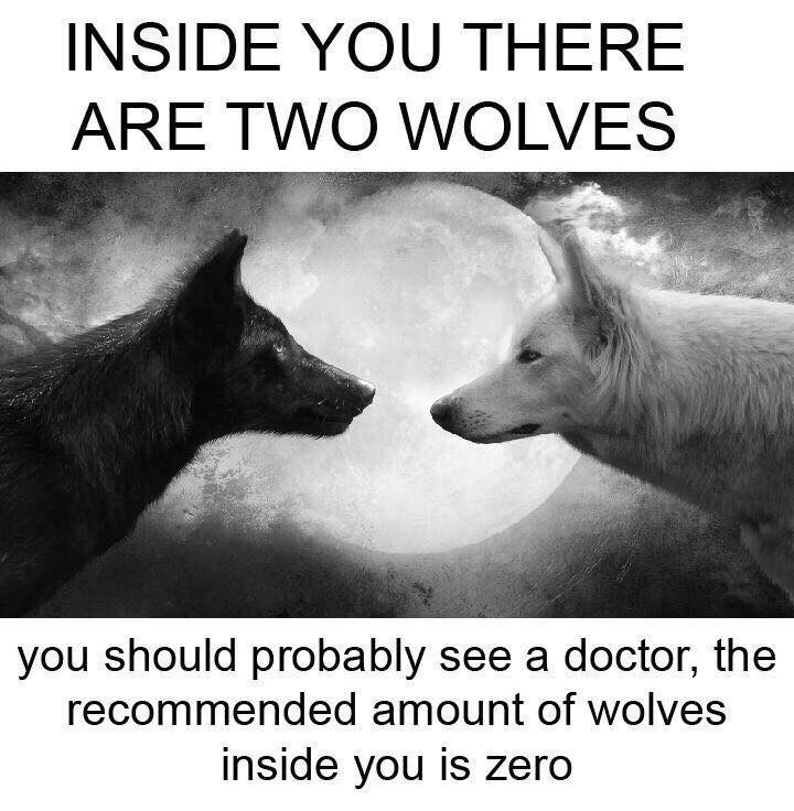 you should probably see a doctor the recommended amount of wolves inside you is zero