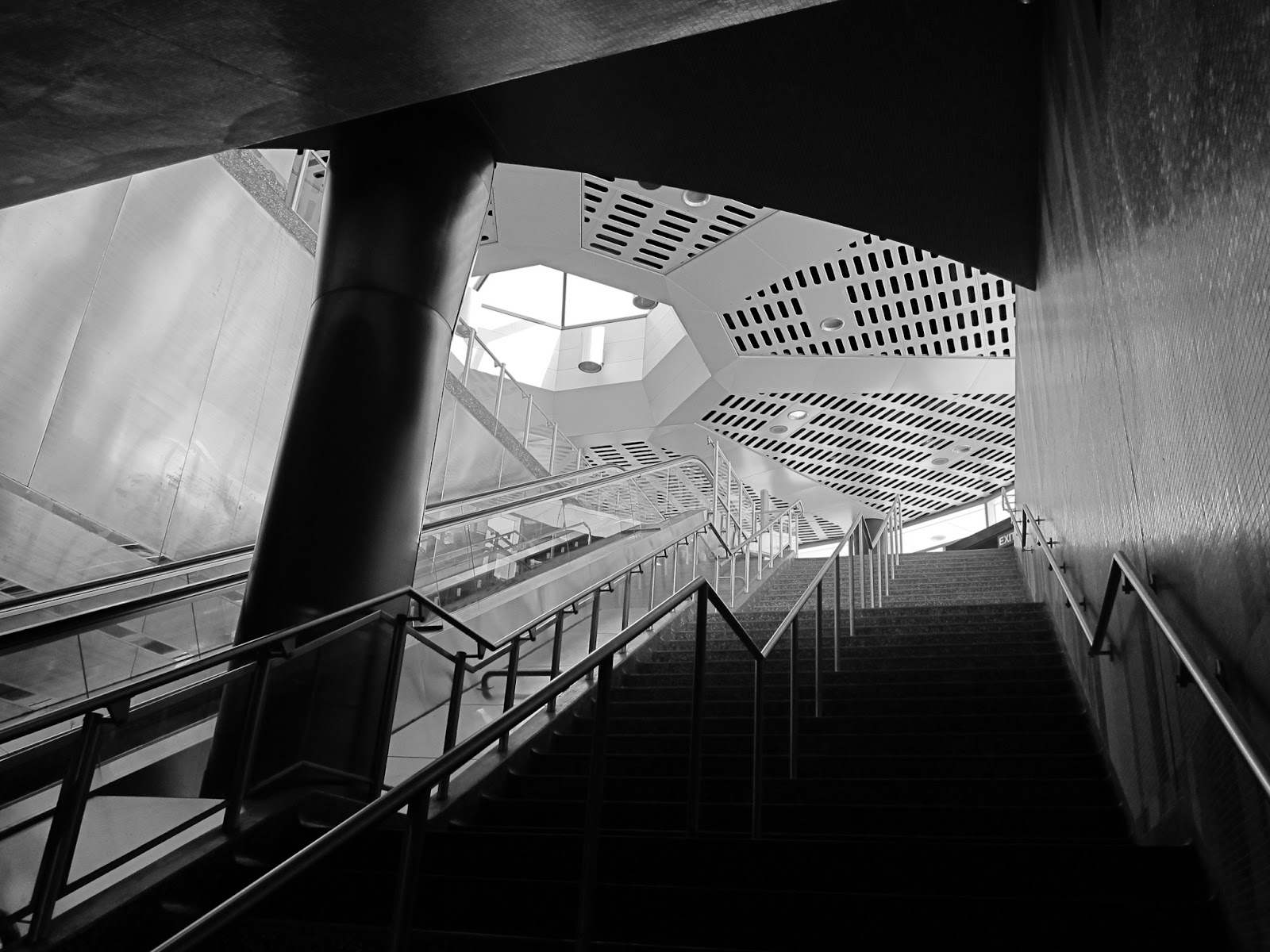 Photo: Stairwell to passenger pickup, Downsview station, Toronto