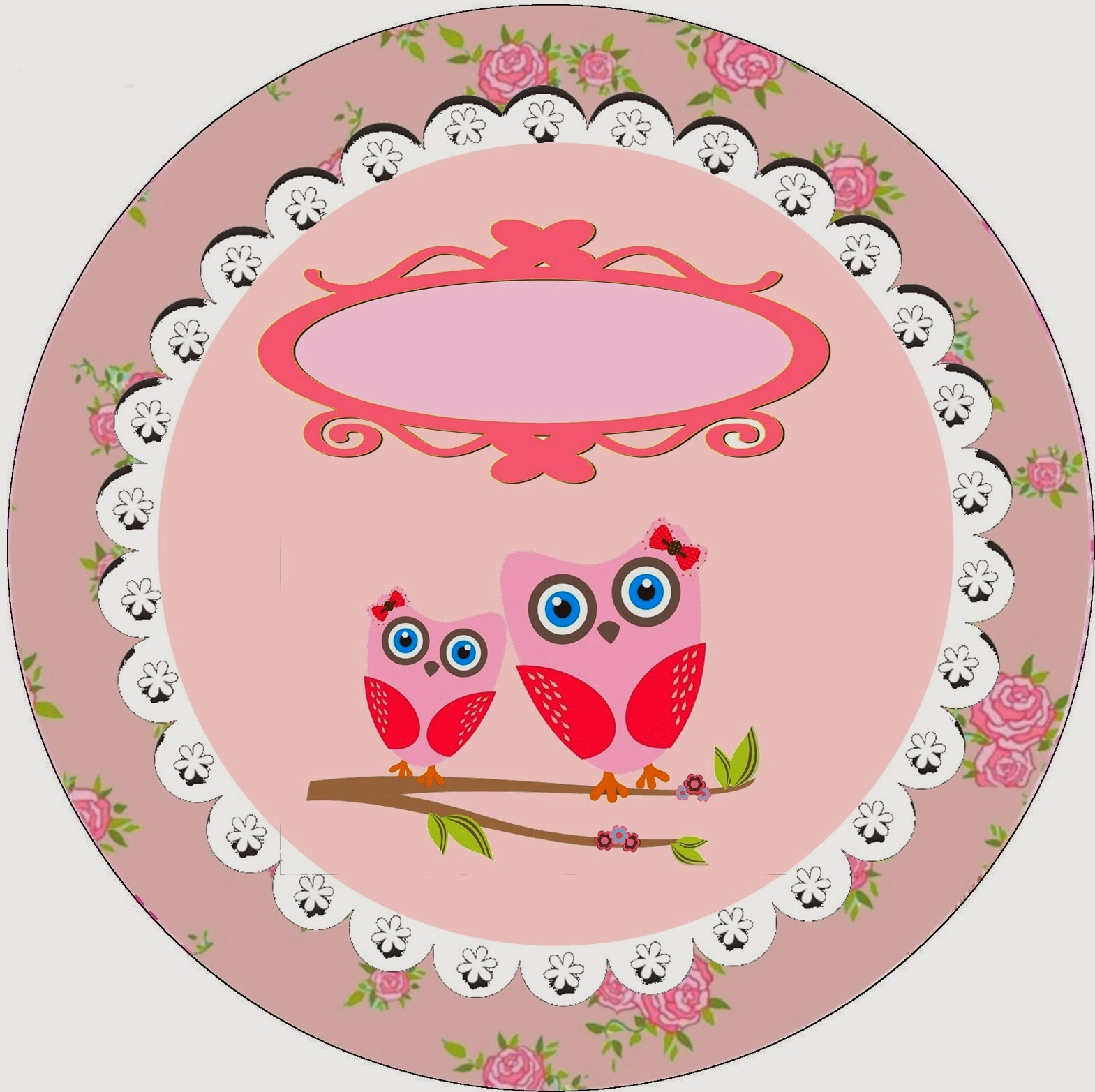 Toppers or Labels Owl with Roses Free Printable.
