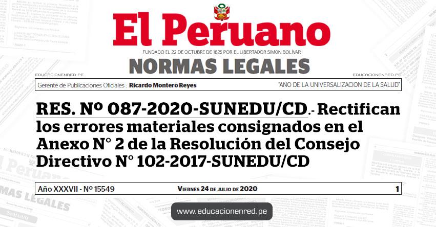 RES. Nº 087-2020-SUNEDU/CD.- Rectifican los errores materiales consignados en el Anexo N° 2 de la Resolución del Consejo Directivo N° 102-2017-SUNEDU/CD