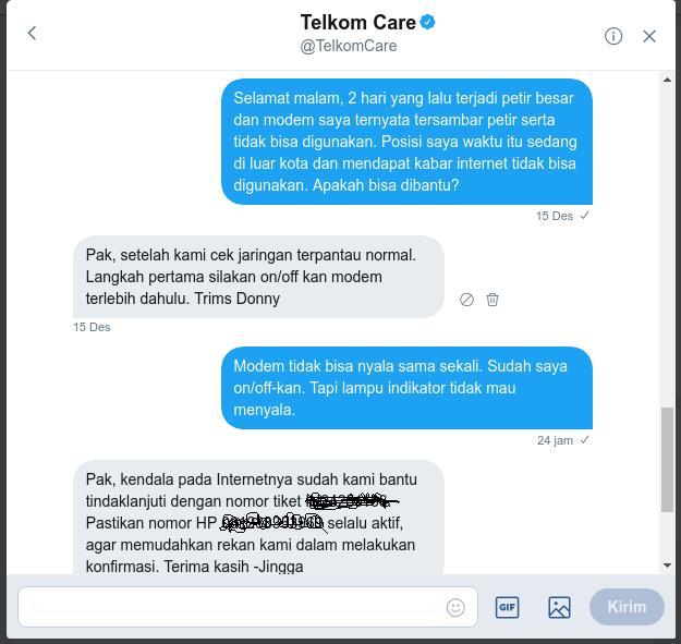 komplain indihome via twitter @telkomcare