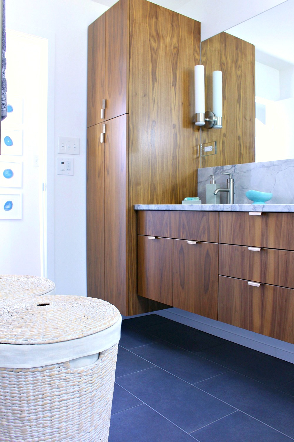 A mid century modern inspired bathroom renovation before - Pictures of vanities in bathrooms ...