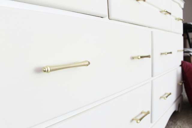 brass hardware, furniture makeover, white dresser