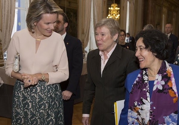 Queen Mathilde at the Children and Armed Conflict conference. Queen Mathilde wore Natan top and Natan lace skirt