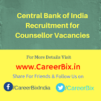 Central Bank of India Recruitment for Counsellor Vacancies