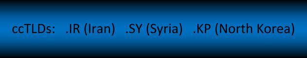 ccTLDs: .IR (IRAN), .SY (Syria), .KP (North Korea)