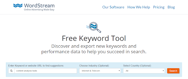 wordstream free keyword tool