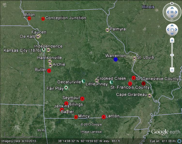 Meteorite Maps And Impact Craters Worldwide Missouri Meteorites Map
