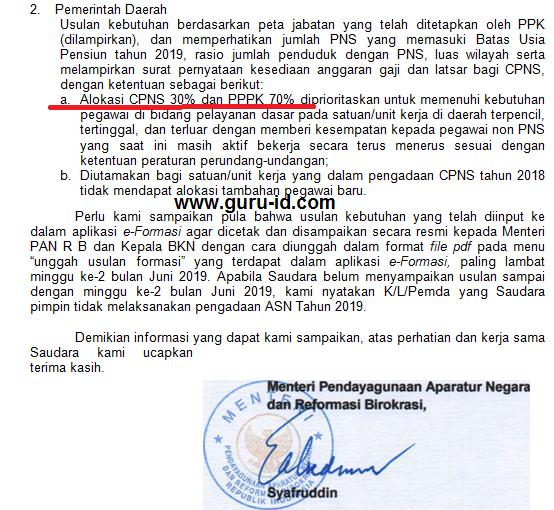 gambar surat edaran menpan tentang pengadaan ASN tahun 2019