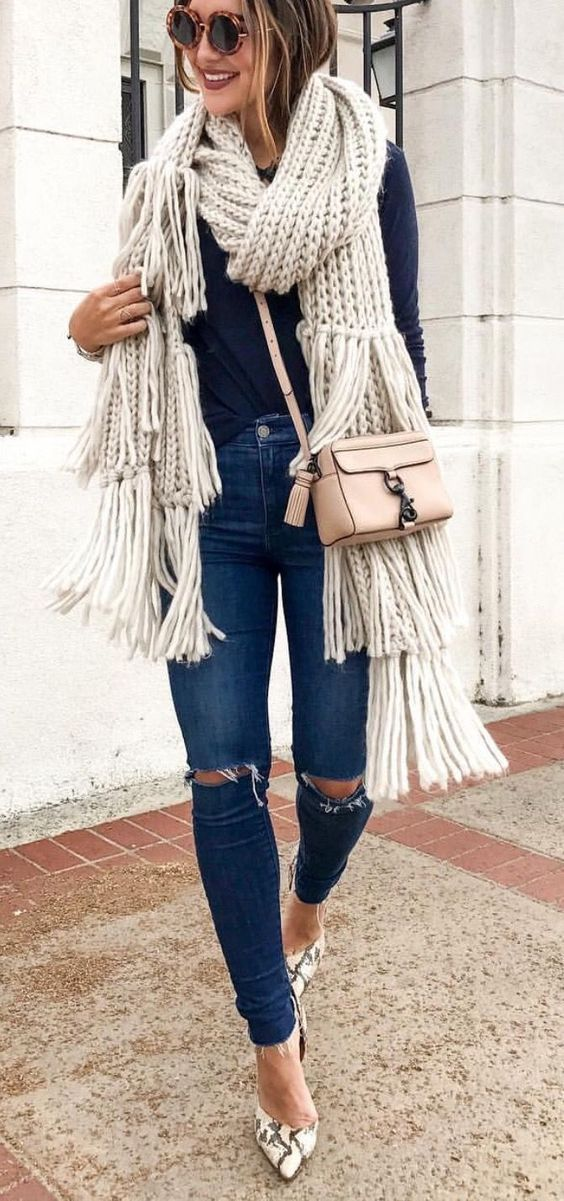 how to style a knit scarf : sweater + skinny ripped jeans + bag + heels