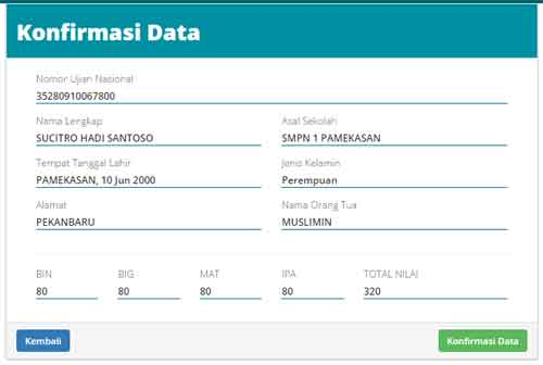 PPDB Online Konfirmasi Data