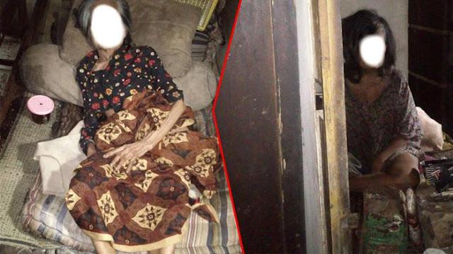 Menyedihkan! Nenek Ini Hidup Di Tengah Anak Anaknya Yang Sakit Jiwa
