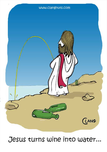 Jesus turns wine into water religious cartoon picture