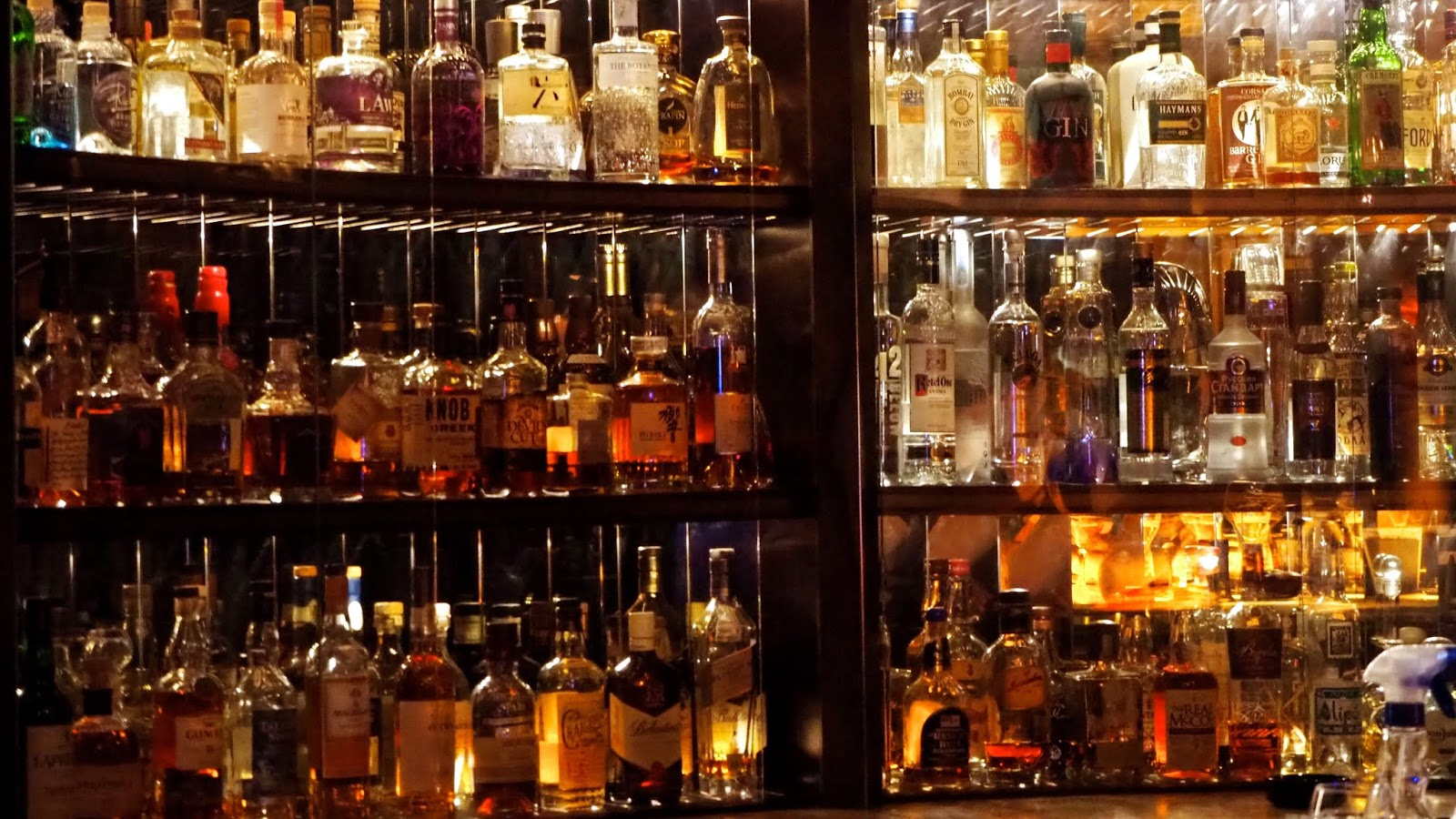 fully stocked whisky bar