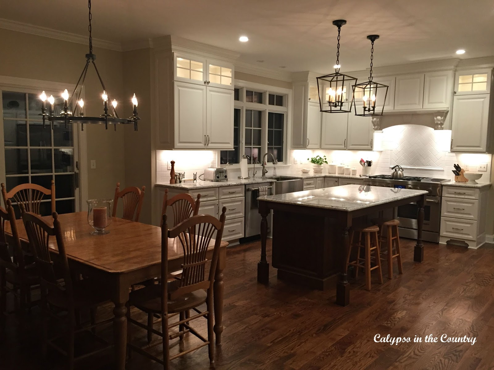 Kitchen Cabinet Lighting in new white kitchen