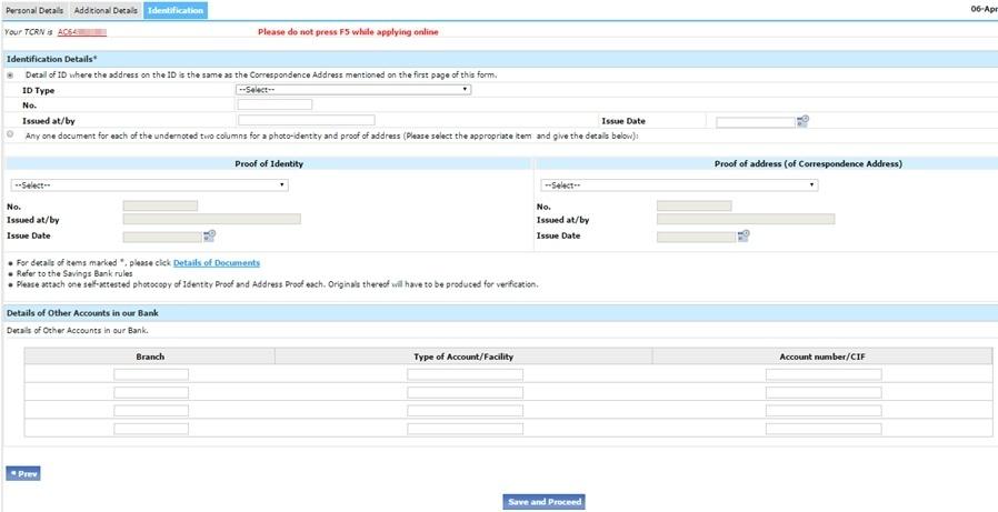 SBI Identification Details Bhar Le