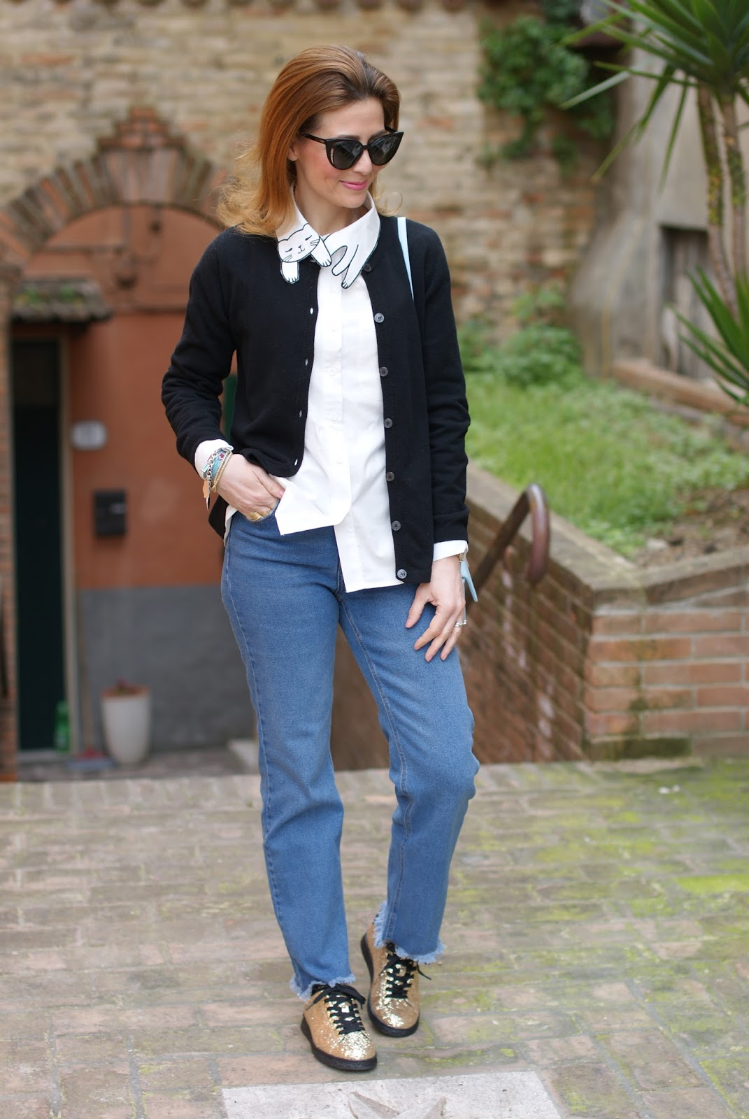 White cat collar shirt, golden glitter sneakers on Fashion and Cookies fashion blog, fashion blogger style