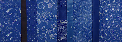 Kekfesto (blue dyed) fabric, Hungarian, 9 different patterns