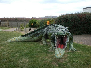 A BIG Crocodile, or Alligator, at Fort Fun Adventure Golf Course in Eastbourne