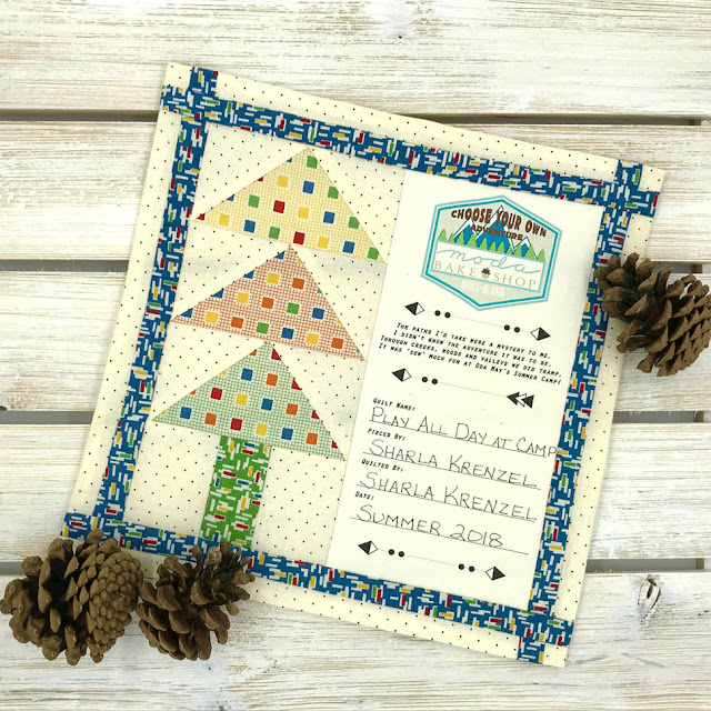 Piney Woods Quilt Label Designed By Thistle Thicket Studio For Moda Bake Shop Choose Your Own Adventure QAL. www.thistlethicketstudio.com