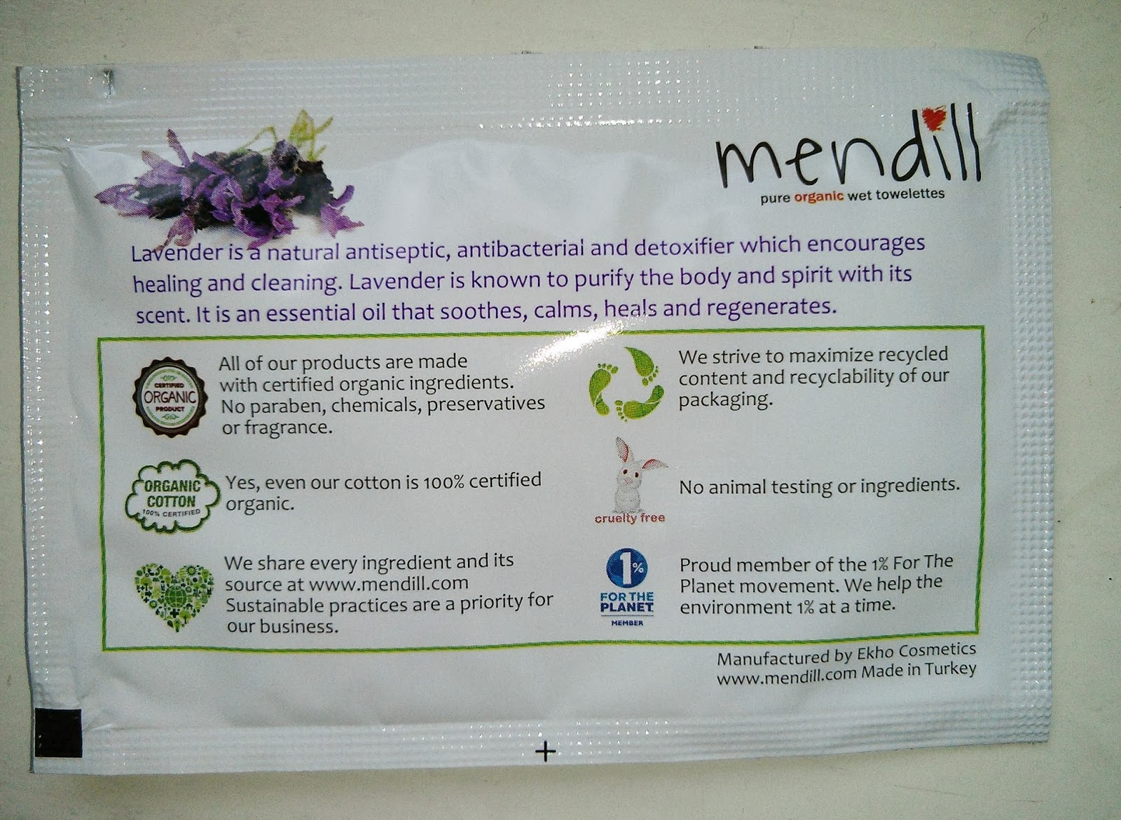 Mendill pure organic wet towelettes