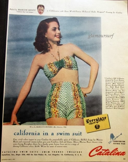 0f7ddac8b3 This ad is from April 1947 by Catalina.Styled by Marion Bentz (Catalina's  New York designer) in collaboration with 7 world famous Hollywood Studio ...